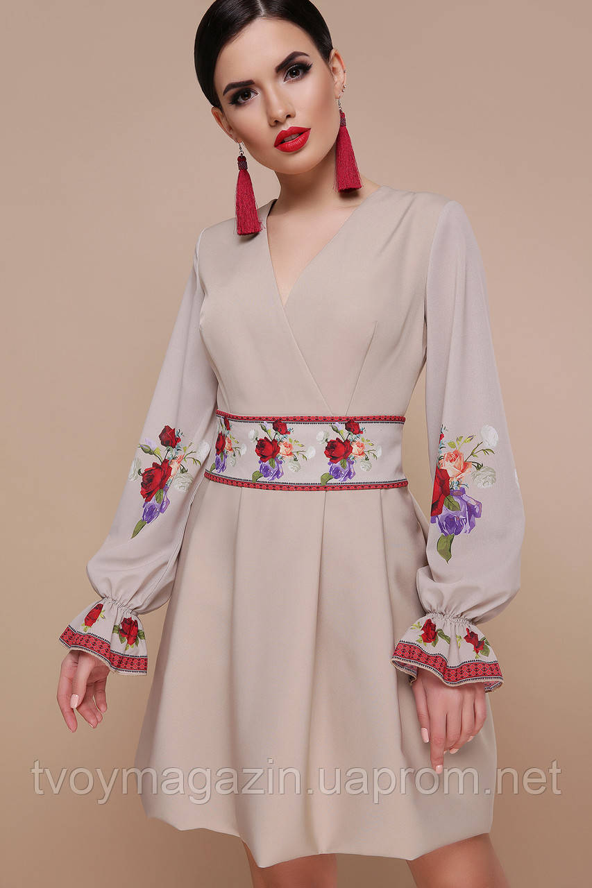 Бежевое платье с цветочным принтом украинские мотивы Бежева сукня з квітковим принтом украінськими мотивами