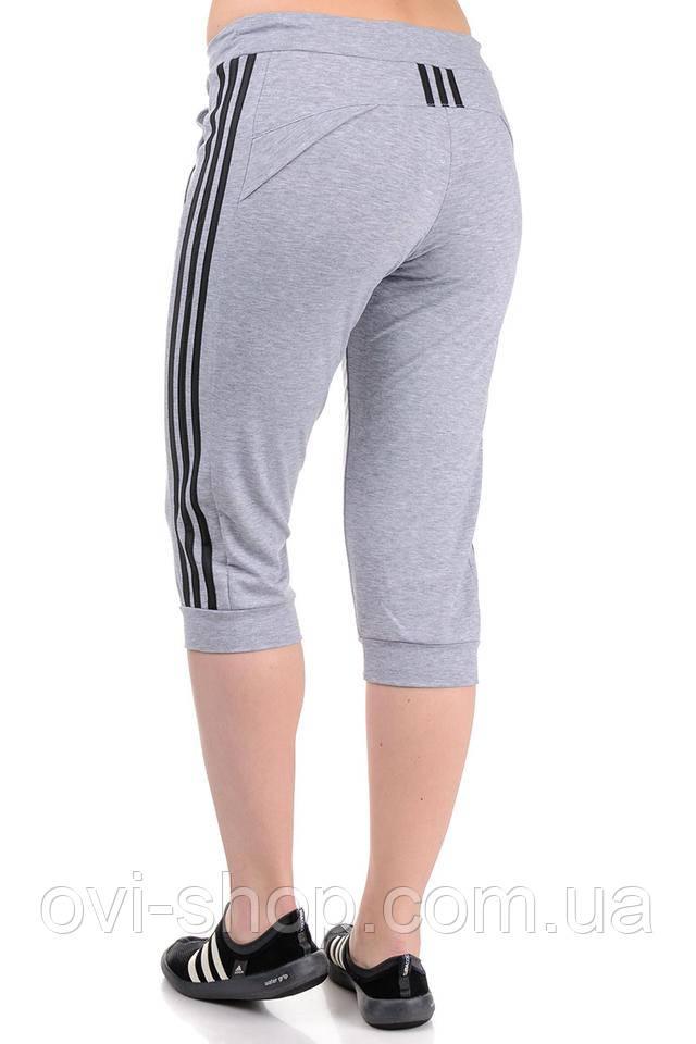женские трикотажные спортивные бриджи серые