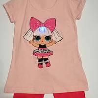 Костюм летний для девочек с лол LOL светящийся( футболка и бриджи) p. 3,4,5, 6