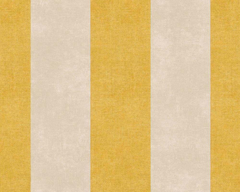 Обои с вертикальной широкой полосой горчичного цвета 367182