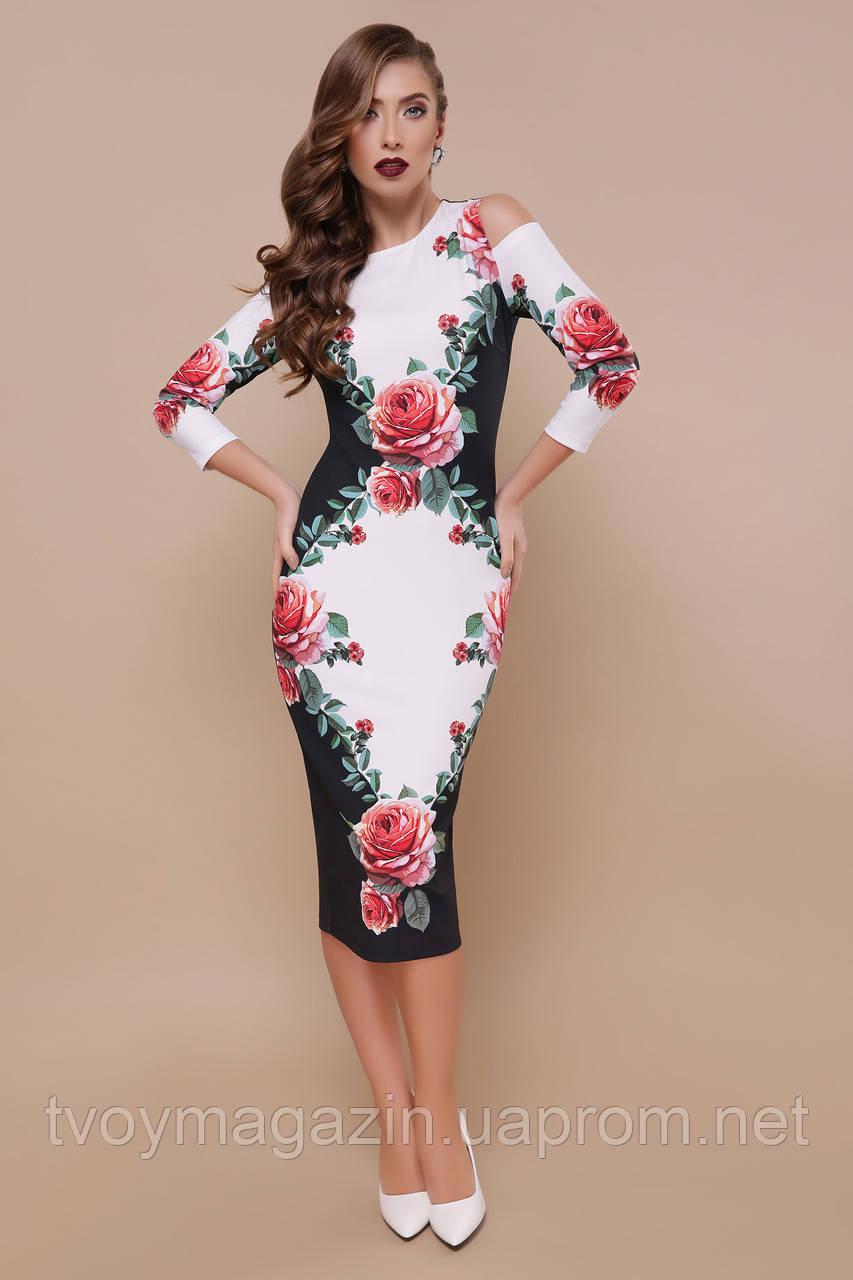 Черное платье с цветочным принтом розами  Чорна сукня з квітковим принтом торояндами