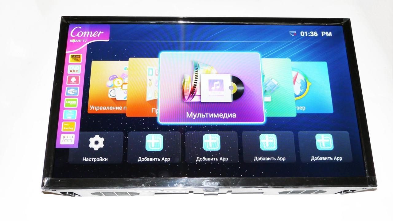 """LCD LED Телевизор Comer 24"""" Smart TV, WiFi, 1Gb Ram, 4Gb Rom, T2, USB/SD, HDMI, VGA, Android 4.4"""