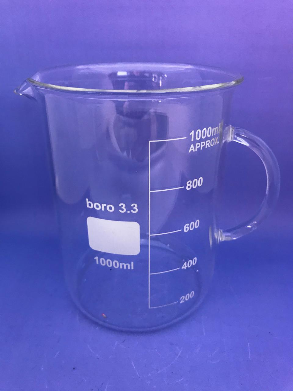 Стакан лабораторный низкий с ручкой мерный  1000мл. Boro3.3