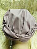 Шапка чалма демісезонна тонка з об'ємним плетеним прикрасою колір пудра, фото 6