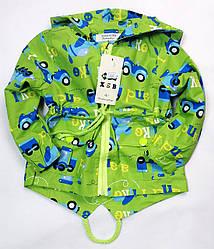 Детская демисезонная куртка ветровка на мальчика салатовая 3-4 года