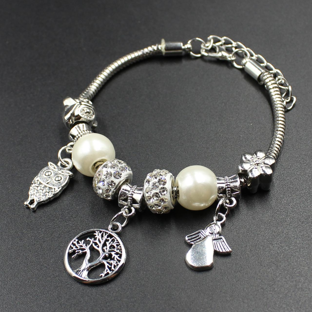 """Женский браслет в стиле Пандора  """"Bozena Silver"""""""