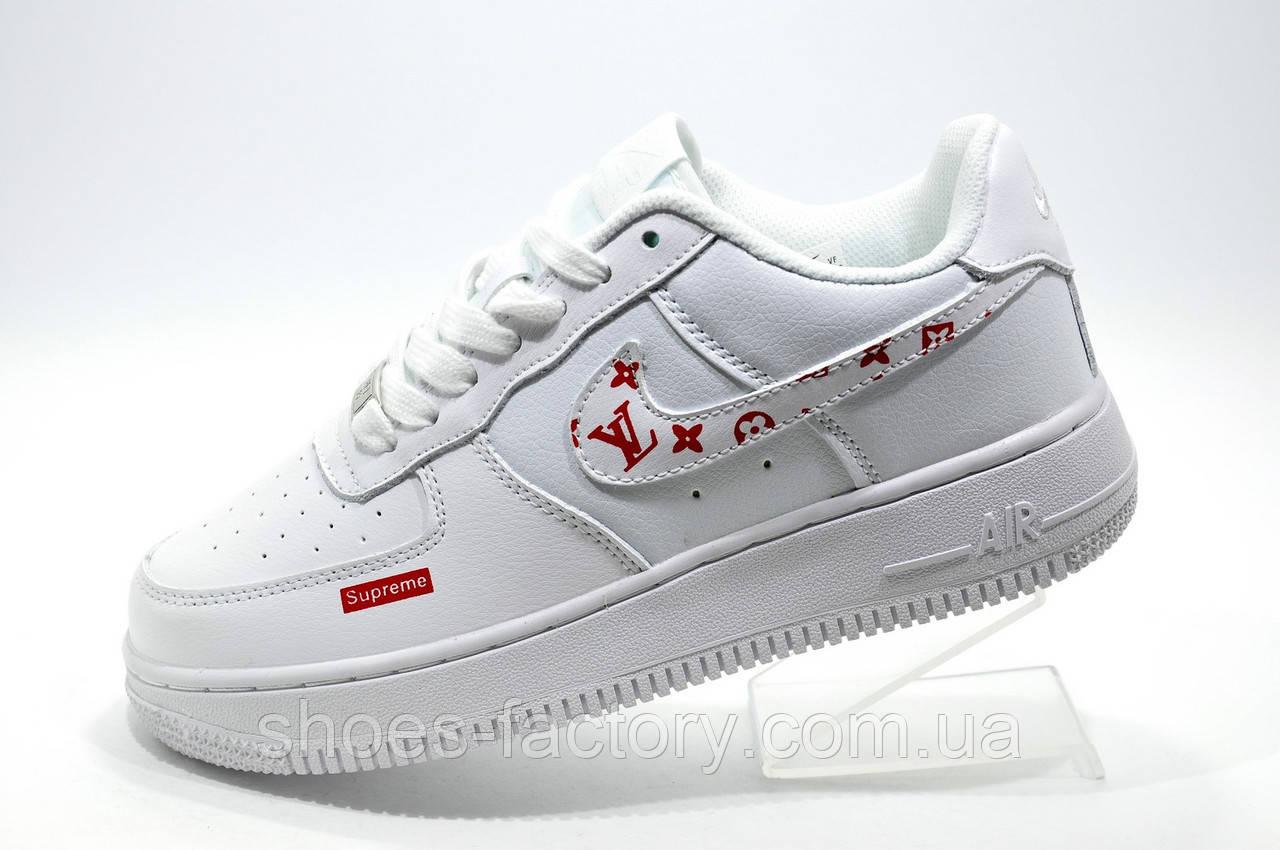 Кроссовки женские в стиле Nike Air Force 1 Low X Supreme, Белые\White