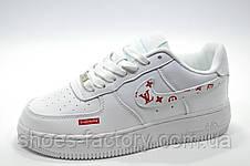 Кроссовки женские в стиле Nike Air Force 1 Low X Supreme, Белые\White, фото 2