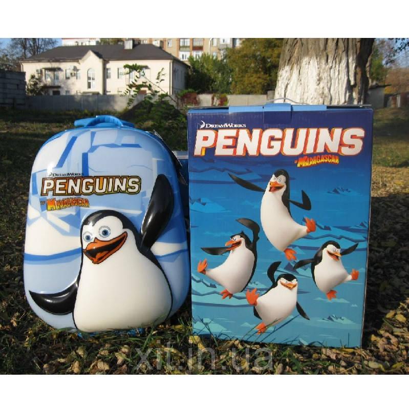"Детский чемодан 16"" на колесах Пингвин голубой"