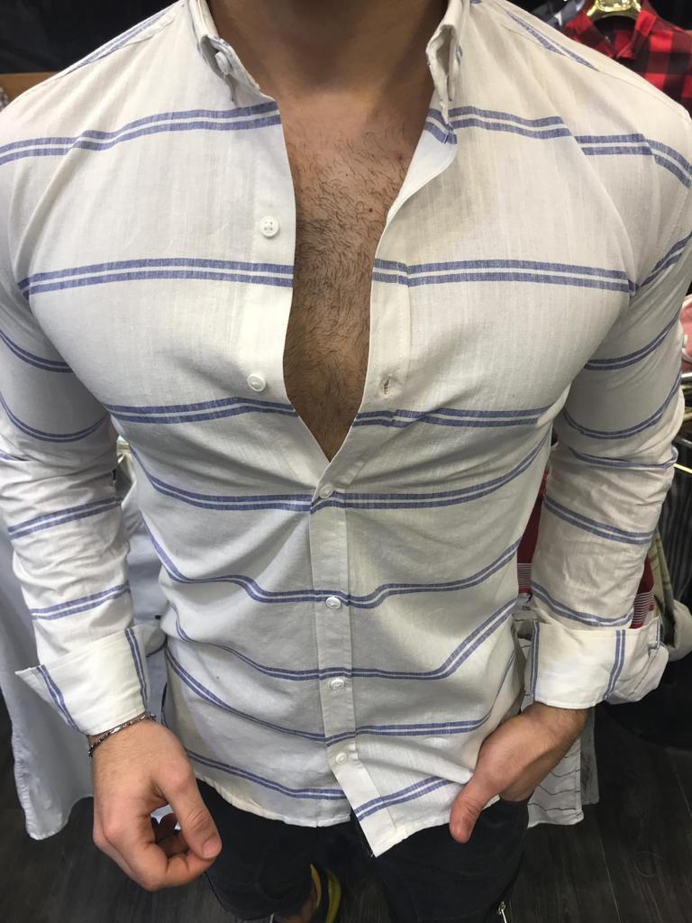1436e3db182 Мужская Рубашка Хлопковая Белая в Горизонтальную Полоску — в ...