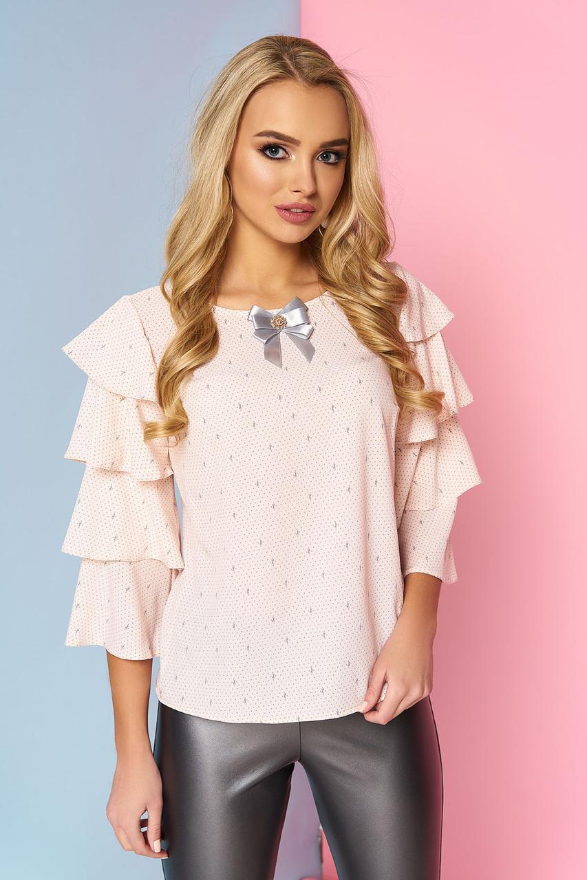 """Жіноча нарядна блузка з брошкою і широкими рукавами з воланами """"Кароліна"""" 14"""