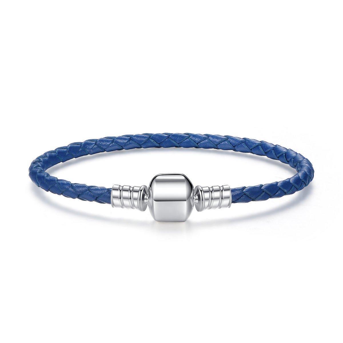 Кожаный браслет основа Pandora Style (стиль Пандора) синий - 20см 17 см