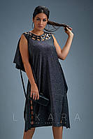 Женское батальное платье трикотаж с люрексом