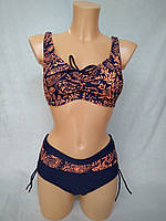 Купальник женский без поролона на кости темно-синий/оранжевый