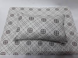 Подлокотник для маникюра с ковриком (белый с узорами)