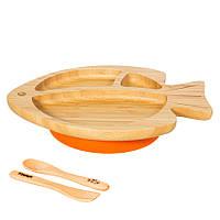 Секционная тарелка из бамбука на присоске, ложка и вилка Бабака, Оранжевый - 146017