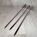 Шампура с деревянной ручкой Шпага из нержавейки длина 60см толщина 3мм, фото 7