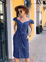 Удобное короткое летнее платье льняное на кнопках с пояском цвет джинс в белый горох