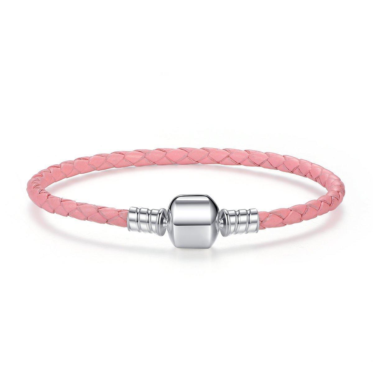 Кожаный браслет основа Pandora Style (стиль Пандора) розовый - 20см 17 см