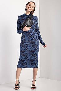 Синее платье RUBY миди из хлопка в камуфляжный принт