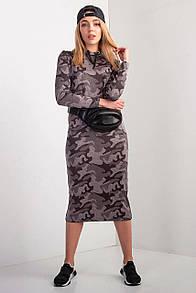 Серое платье RUBY миди из хлопка в камуфляжный принт