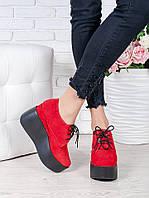 Туфли на высокой платформе красная замша 7021-28