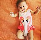 Детский купальник малышка в памперсе c фламинго лимонный, фото 2