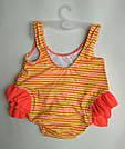 Детский купальник малышка в памперсе c фламинго лимонный, фото 4