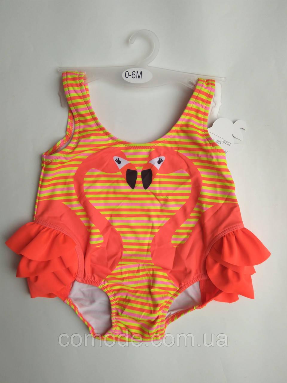 Детский купальник малышка в памперсе c фламинго яркий оранжевый