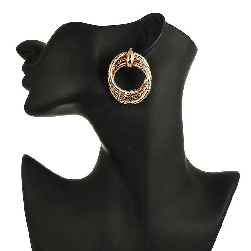 Модные украшения женские круглые серьги в форме колец вечерние золотой цвет сережки / Распродажа!!!