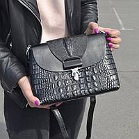 """Женская кожаная сумка с тиснением аллигатора """"Мелитта Black """", фото 1"""