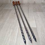 Шампура з лакованої дерев'яної ручкою з нержавіючої сталі довжина 75см товщина 3мм, фото 4