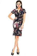 Платье на запах 007 темно-синее размер 44
