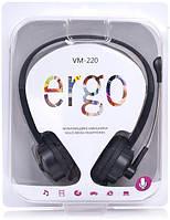 Навушники накладні провідні з мікрофоном Ergo VM-220 Black (SM-HD220M.V)