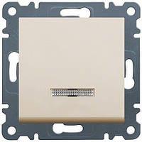 Выключатель проходной 1-клавишный с подсветкой (белый) Hager Lumina-2 (универсальный)