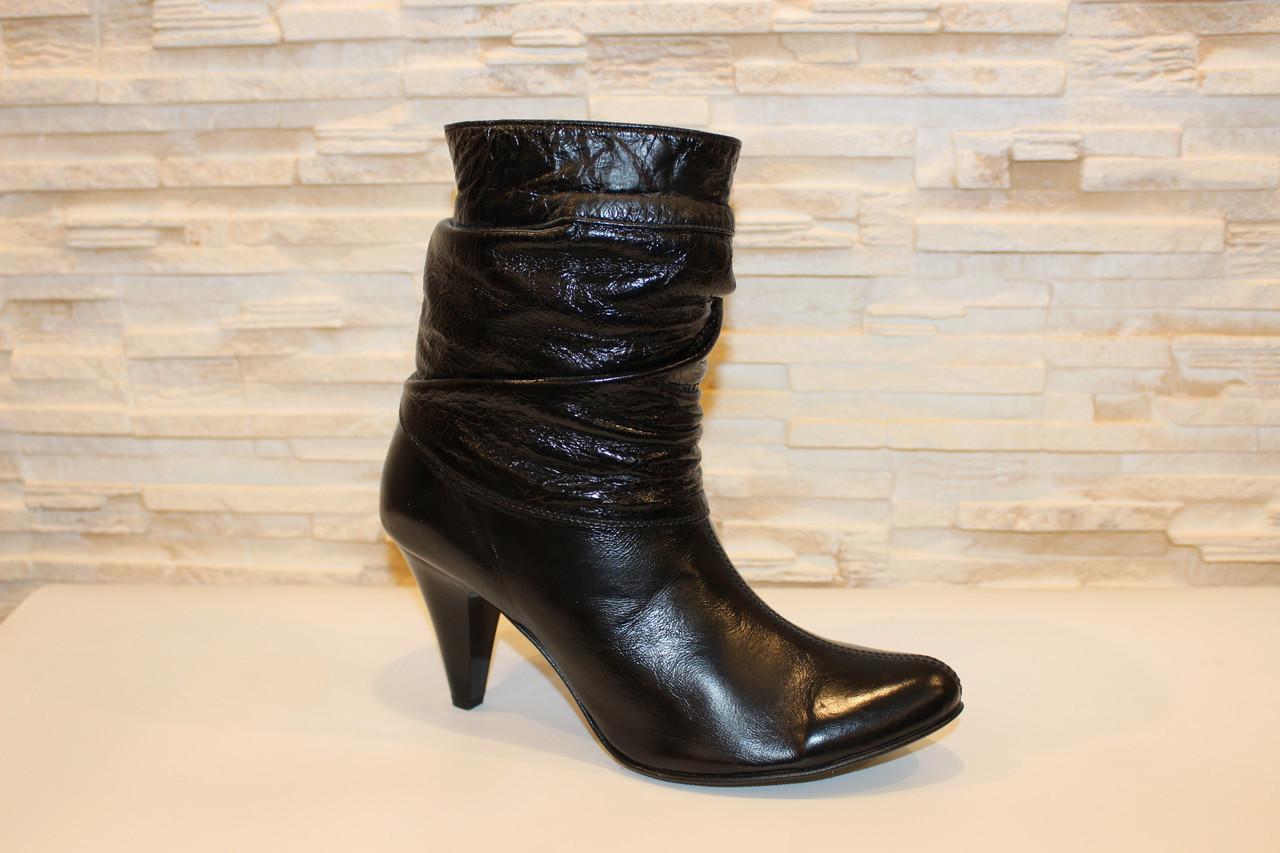 Сапоги женские черные на каблуке натуральная кожа Д72