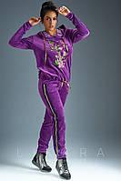 Женский батальный велюровый спортивный костюм