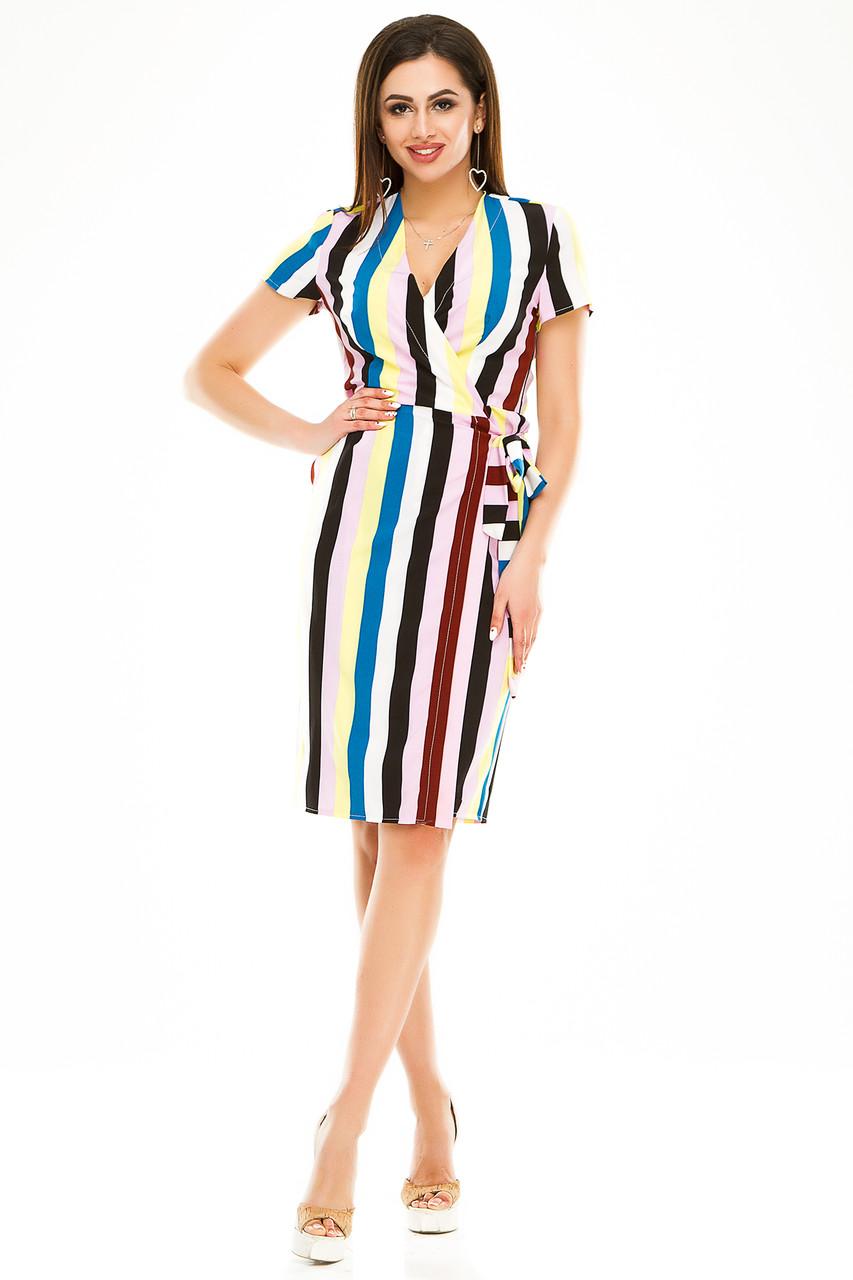 Платье на запах 007 желтая полоска