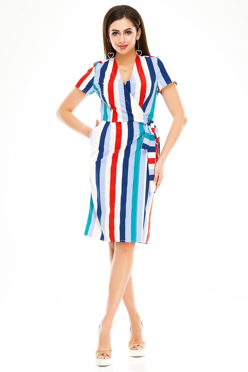 Платье на запах 007 красная полоска