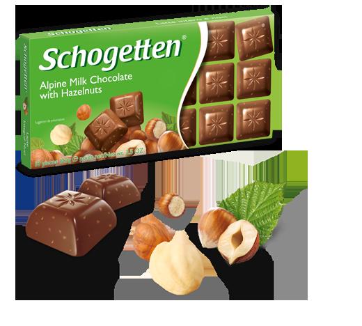 Шоколад молочный Шогетен с Лесным орехом Schogеtten Alpine milk halzelnuts 100 г х 15 шт в упаковке