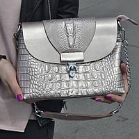 "Женская кожаная сумка с тиснением аллигатора  ""Мелитта Bright Pink"", фото 1"