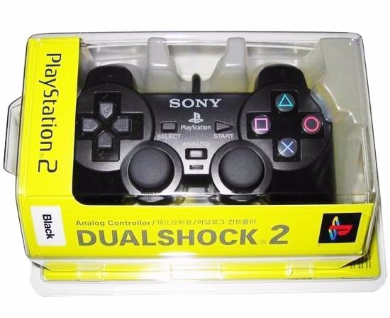 Джойстик PS2 проводной SONY label (желтый блистер
