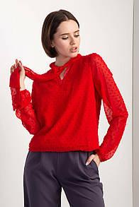 Красная шифоновая блуза LAURETTA с бантом