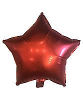 Фольгированный шар Звезда красная сатин диаметр 45 см (Китай)