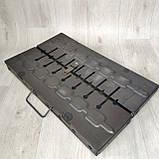Мангал розкладний у валізу товщиною 2мм з ніжками на 8 шампурів, фото 3