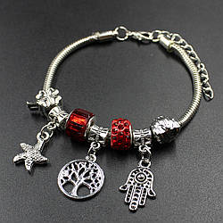 "Женский браслет в стиле Пандора  "" Angela red"""