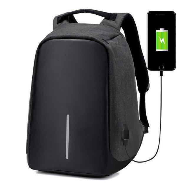 Рюкзак Bobby антивор для ноутбука. Портфель городской (черный, серый)