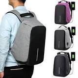Рюкзак Bobby антивор для ноутбука. Портфель городской (черный, серый), фото 7