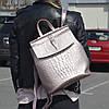 """Кожаный рюкзак-сумка (трансформер) с тиснением под аллигатора """"Крокодил Bright Pink"""""""