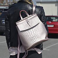 """Кожаный рюкзак-сумка (трансформер) с тиснением под аллигатора """"Крокодил Bright Pink"""", фото 1"""